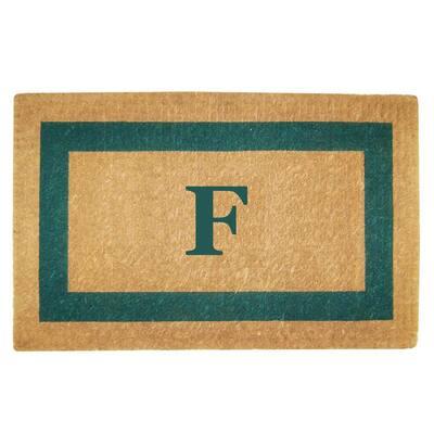 Single Picture Frame Green 22 in. x 36 in. Heavy Duty Coir Monogrammed F Door Mat