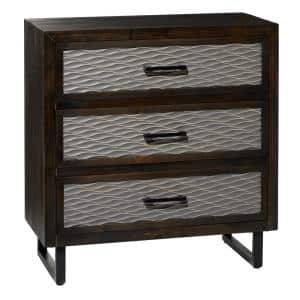 30 in. x 31.5 in. Dark Brown Rectangular Wood and Silver Textured Metal 3-Drawer Cabinet