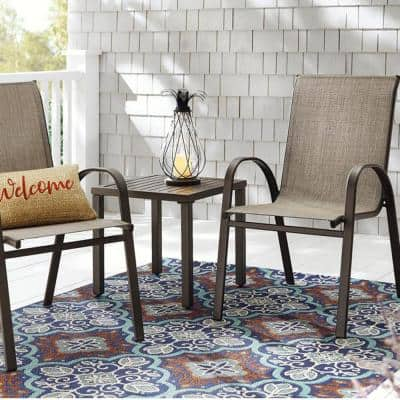 Mix and Match Stackable Brown Steel Sling Outdoor Patio Dining Chair in Riverbed Taupe