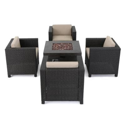Puerta Dark Brown 4-Piece Wicker Patio Fire Pit Seating Set with Beige Cushions