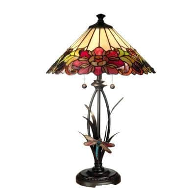 25 in. Floral Art Glass Table Lamp with Dragongly Base