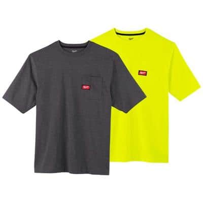 Men's Small Gray and High Visibility Heavy-Duty Cotton/Polyester Short-Sleeve Pocket T-Shirt (2-Pack)
