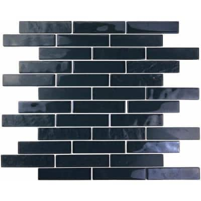 Landscape Swamp Black Linear Mosaic 1 in. x 4 in. Textured Glossy Glass Pool Tile (1.04 Sq. ft.)