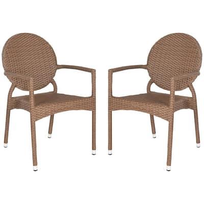 Valdez Brown Stackable Aluminum/Wicker Outdoor Dining Chair (2-Pack)