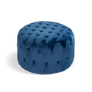 Ottoman Blue Standard Round Tufted Velvet
