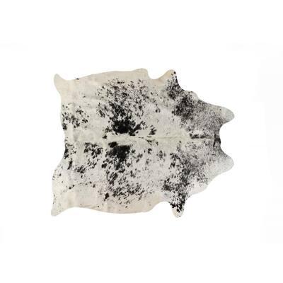 Kobe Cowhide Salt & Pepper White/Black 5 ft. x 7 ft. Animal Print Area Rug