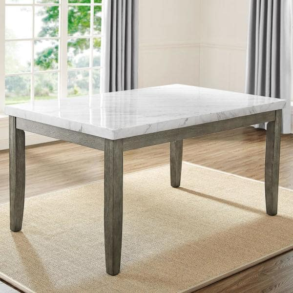 Steve Silver Emily White Marble Top Dining Table Em500wt The Home Depot