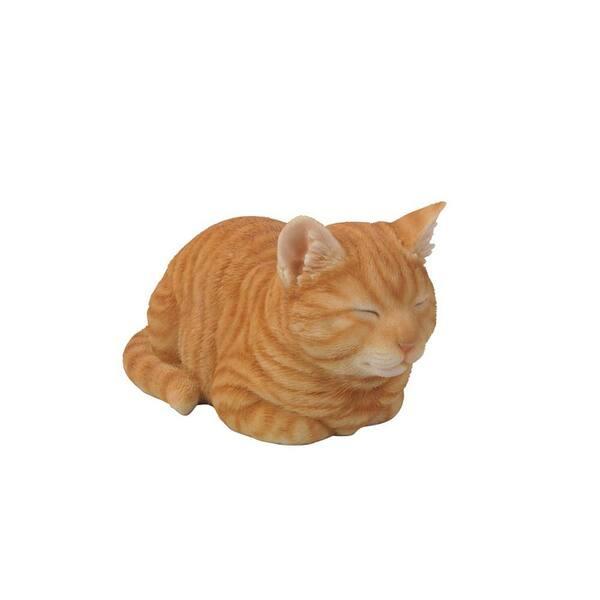 CAT nap swing KITTEN sleeping orange tabby tree hanging outdoor garden statue