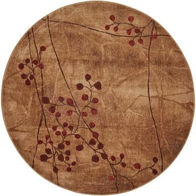 Somerset Latte 6 ft. x 6 ft. Oriental Modern Round Area Rug