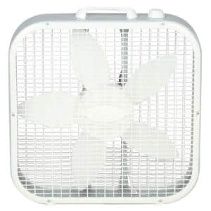 Save-Smart Energy Efficient 20 in. 3 Speed White Box Fan with Built-In Carry Handle