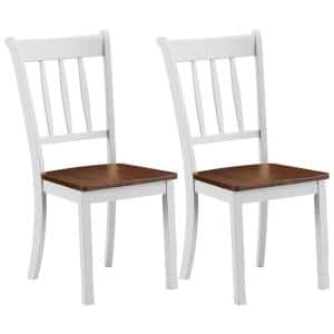 White Solid Wood Dining Chairs with Spindle Back in white (Set of 2)