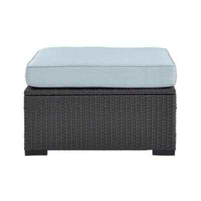 Biscayne Wicker Outdoor Ottoman with Mist Cushions