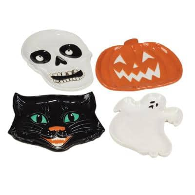 Scaredy Cat Multicolored Earthenware 3-D Candy Plate Assorted (Set of 4)