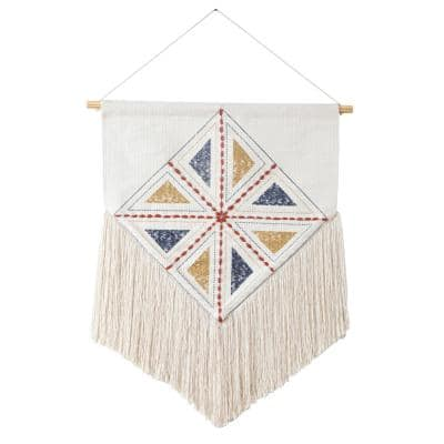 Dynamic Diamond 21.5 in. x 35 in. Ivory/Blue/Yellow/Red Woven Macramé Fringe Wall Hanging
