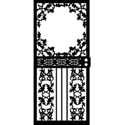 36 in. x 80 in. 461 Series Black Scenic Hinge Left Security Door