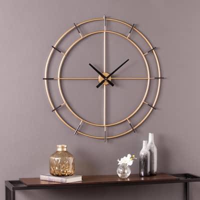 Pelman Gold and Black Contemporary Decorative Wall Clock