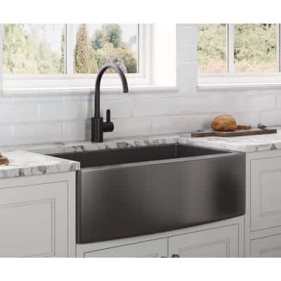 Farmhouse Apron-Front Stainless Steel 33 in. Single Bowl Kitchen Sink in Gunmetal Black Matte