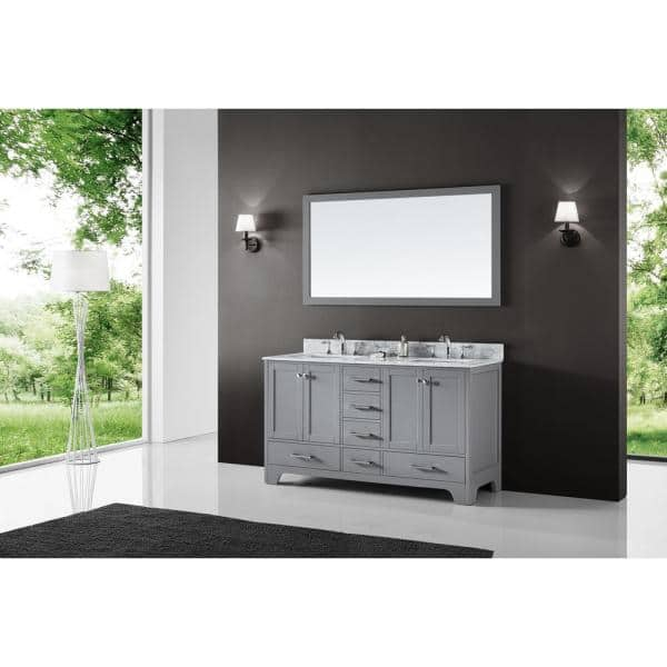 Exclusive Heritage 60 In Double Sink Bathroom Vanity In Taupe Grey With Carrara White Marble Top And Mirror Set Cl 10160d Wmtp The Home Depot
