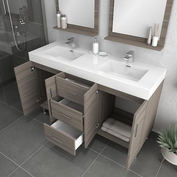 Gray With Acrylic Vanity Top In White, 56 Bathroom Vanity Double Sink