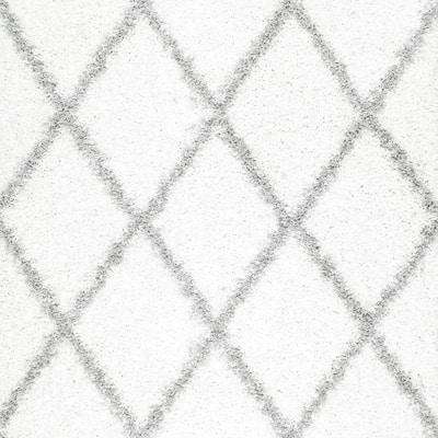 Shanna Easy Shag White 5 ft. Square Rug