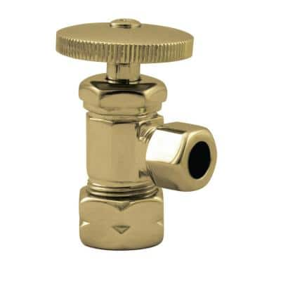 5/8 in. IPS x 3/8 in. O.D. Compression Outlet Angle Stop with Round Handle, Polished Brass