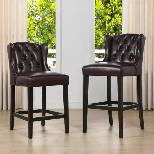 Jennifer Taylor Richmond 26 In Armless Wingback Tufted Counter Height Bar Stool Vintage Brown Faux Leather 81101 Mfr The Home Depot