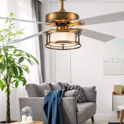 Francesca 52 in. LED Indoor White/Brass Ceiling Fan with Light