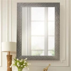 36 in.x 24 in.Sparkle Glam Mosaic Rectangle Framed Black Accent Mirror