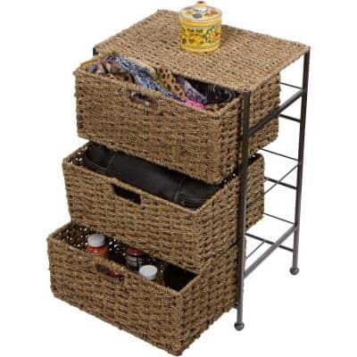 10.5 in. x 24 in. Seagrass and Metal 3-Drawer Basket Storage Chest Side Table