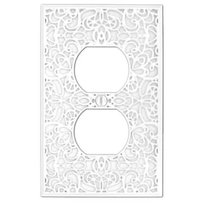 Momfort 1 Gang Duplex Metal Wall Plate - White