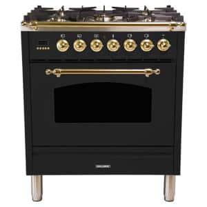 30 in. 3.0 cu. ft. Single Oven Italian Gas Range with True Convection, 5 Burners, LP Gas, Brass Trim in Glossy Black