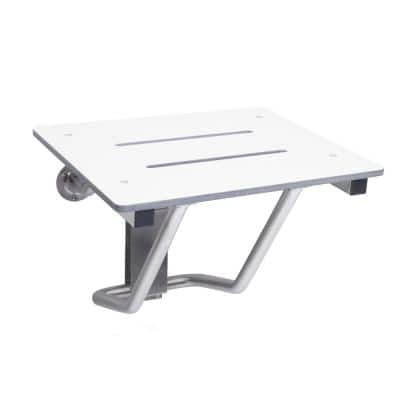 22 in W x 15 in D Rectangle White Phenolic Slotted Folding Shower Seat with Wall Bracket Mount