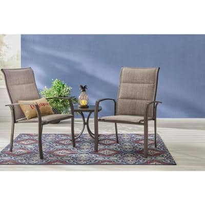 Mix and Match Stationary Stackable Steel Sling Oversized Outdoor Patio Dining Chair in Riverbed Taupe
