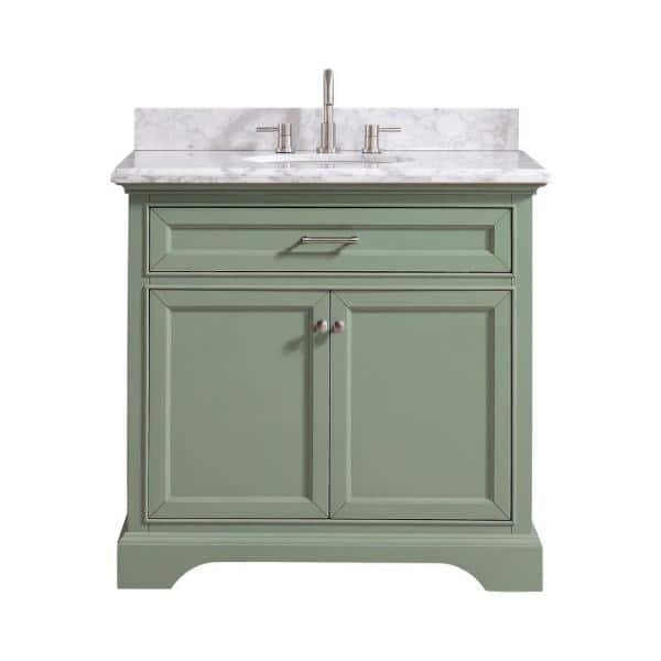 Home Decorators Collection Windlowe 37 In W X 22 In D X 35 In H Bath Vanity In Green With Carrera Marble Vanity Top In White With White Sink 15101 Vs37c Sg The Home Depot
