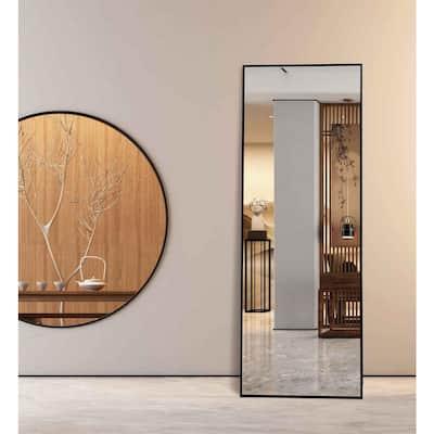 Lester 59 in. x 20 in. Black Modern Rectangle Aluminum Alloy Framed Full-Length Standing Mirror