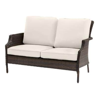 Grayson Brown Wicker Outdoor Patio Loveseat with CushionGuard Almond Tan Cushions