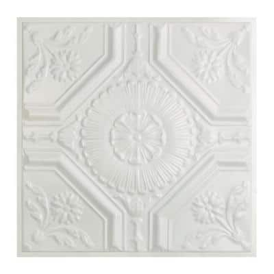 Rochester 2 ft. x 2 ft. Lay-In Tin Ceiling Tile in Matte White (20 sq. ft./case)
