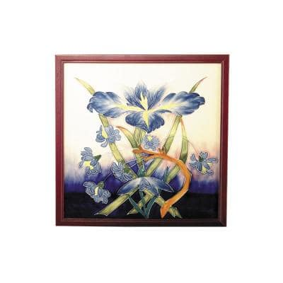 Iris Abstract Wall Art with Hand Painted Porcelain style 9.5 in. x 9.5 in.