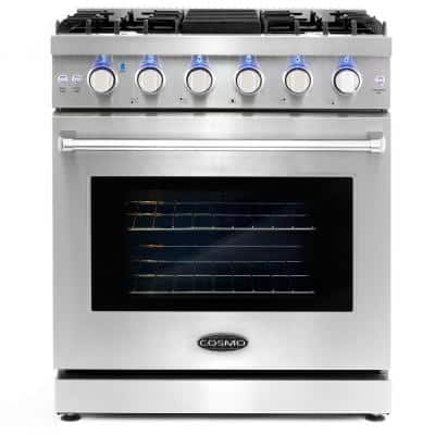 30 in. 4.55 cu. ft. Commercial Gas Range with Convection Oven in Stainless Steel with Storage Drawer