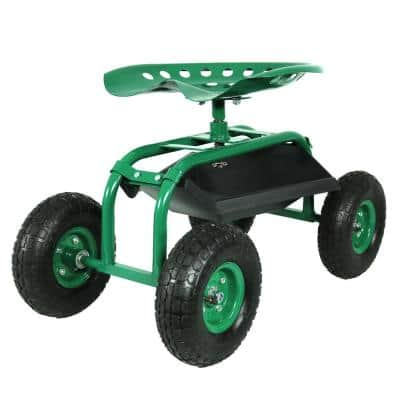Green Steel Rolling Garden Cart with 360-Degree Swivel Seat and Tray