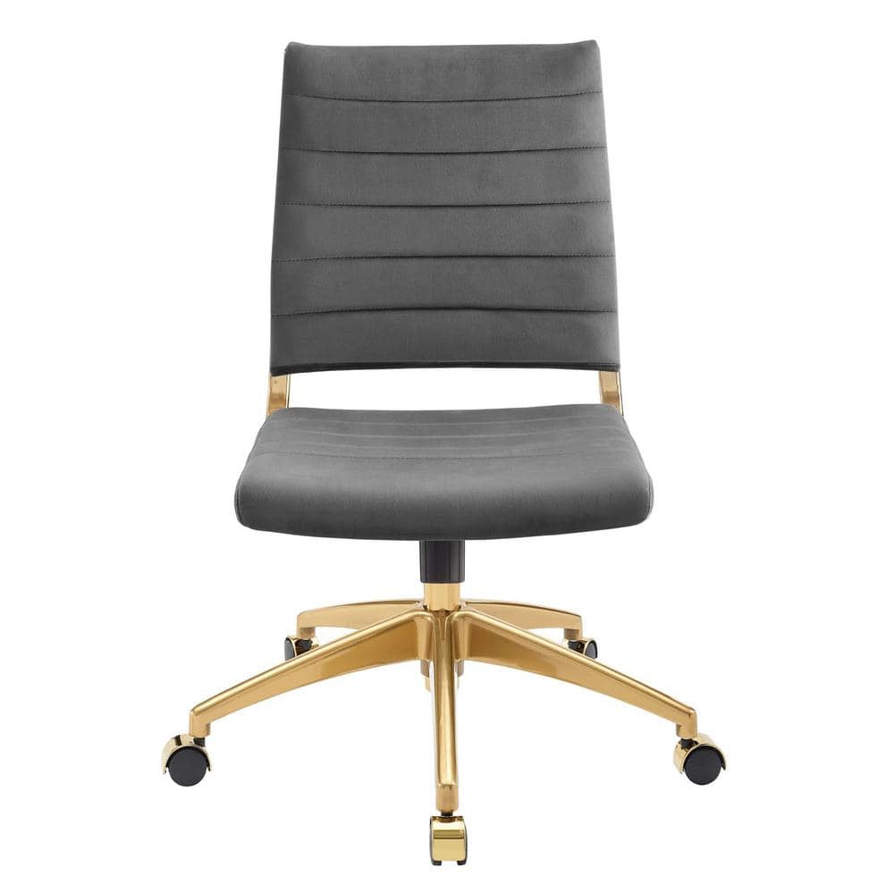 Modway Jive Gray Upholstered Armless Mid Back Performance Velvet Office Chair Eei 4280 Gry The Home Depot
