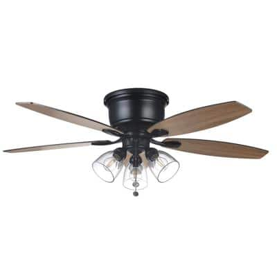Stoneridge 52 in. Indoor LED Matte Black Hugger Ceiling Fan with Light Kit and 5 QuickInstall Reversible Blades