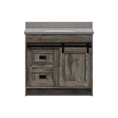 Barnstable 36 in. W x 22 in. D Vanity in Driftwood Gray with Cultured Marble Vanity Top in Pewter with White Basin
