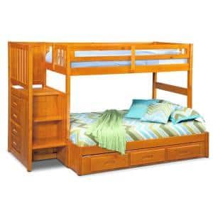 Honey Twin over Full Staircase Solid Pine Bunkbed with 7-Drawers