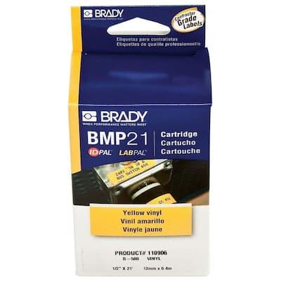 Brady Series Label Cartridge 0.375 in. x 21 ft. L B595 Indoor/Outdoor Vinyl, Black on White Labels