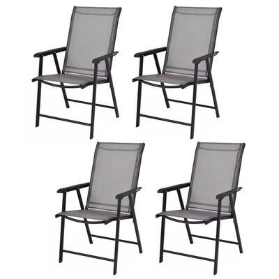 Black Metal Folding Lawn Chair