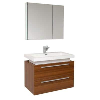 Medio 32 in. Vanity in Teak with Acrylic Vanity Top in White with White Basin and Mirrored Medicine Cabinet