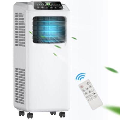 8,000 BTU Portable Air Conditioner with Dehumidifier in Black and White