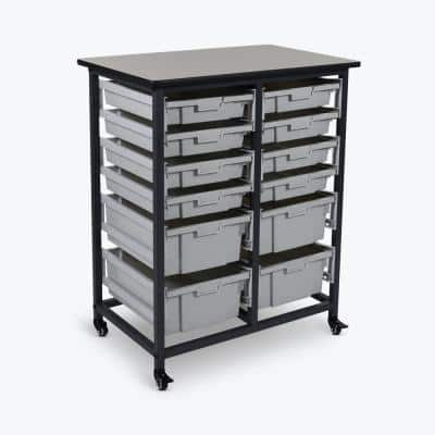Mobile Double Row Steel Frame Storage Unit with 8 Small and 4 Large Plastic Bins