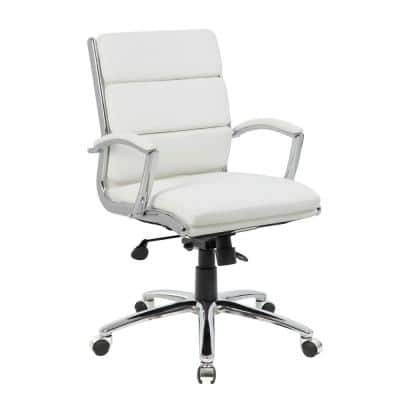 27 in. Width Big and Tall White Faux Leather Executive Chair with Adjustable Height